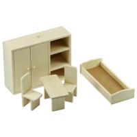 Set mobila dormitor pentru papusi, lemn natur