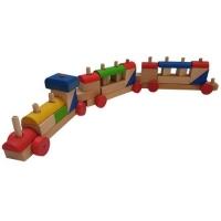 Jucarie din lemn Tren cuburi lemn pentru construit