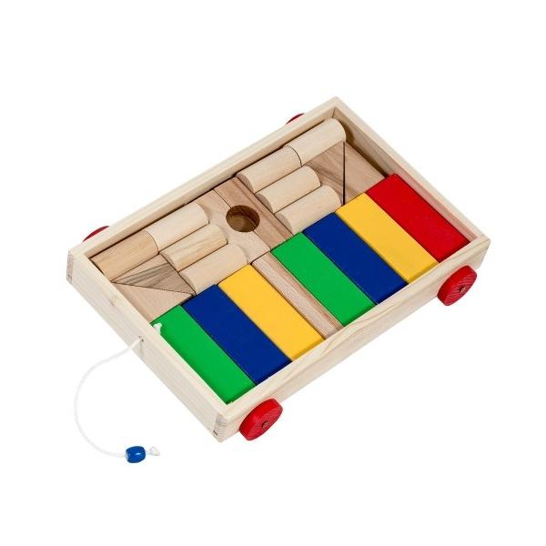 Jucarie din lemn Carucior cuburi multicolor 24 piese