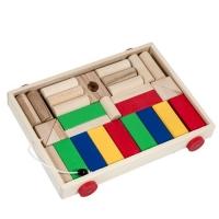 Carucior cu cuburi lemn, multicolor