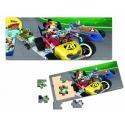 Puzzle din lemn 15 piese - Mickey si pilotii de curse