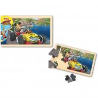 Puzzle din lemn - Mickey si pilotii de curse