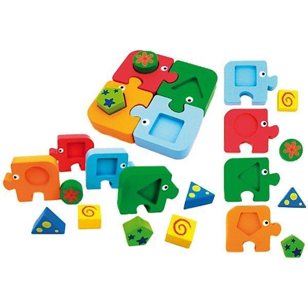 Puzzle din lemn - Potriveste formele