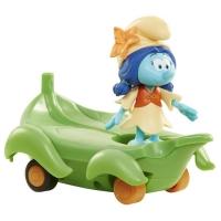 Set figurine Strumfii 5,7 cm - Smurflily si vehicul frunza