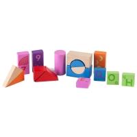 Cuburi Momki colorate pentru constructie, Lemn - 51 de bucati