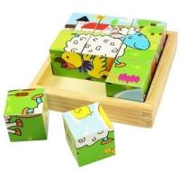 Puzzle cuburi din lemn - animale domestice, 9 piese
