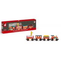 Trenulet de lemn cu locomotiva, 4 vagoane si o girafa - Janod