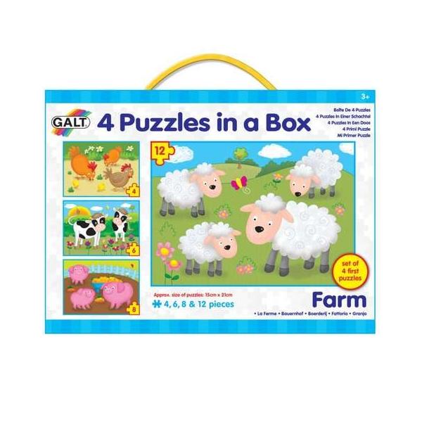 Set 4 puzzle-uri Galt - Animale de la ferma (4, 6, 8, 12 piese)