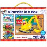 Set 4 puzzle-uri Galt -  Vehicule (4, 6, 8, 12 piese)