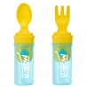 Set portabil lingurita si furculita U-Grow, Turquoise/Galben