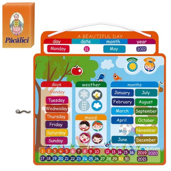 Calendar Magnetic Vremea educativ, Janod, in limba engleza + carti de joc Pacalici cadou
