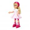 Papusa Maia pe Role - rochita alb cu roz