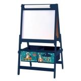 Dulap depozitare jucarii Explore the universe, cu tabla de scris, Albastru