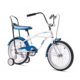 Bicicleta Pegas cu roti ajutatoare - Mezin , albastru cu alb