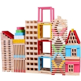 Cuburi de constructii din lemn, 150 piese