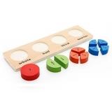 Puzzle din lemn partile intregului cu 4 reprezentari