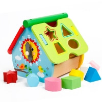 Casuta educative din lemn cu forme de sortare si ceas, Multicolora – Block House