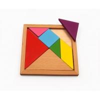 Tangram puzzle din lemn, joc matematic, forme geometrice, educativ, logica si imaginatie