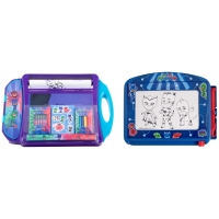 Pachet Tabla de scris PJ Masks Magic Scribbler Travel si Set de colorat portabil PJ Masks - Eroi in pijama