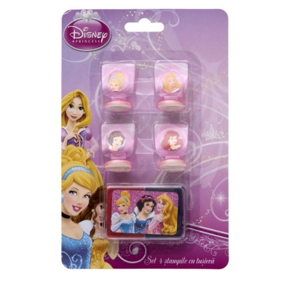Set 4 stampile cu tusiera Princess