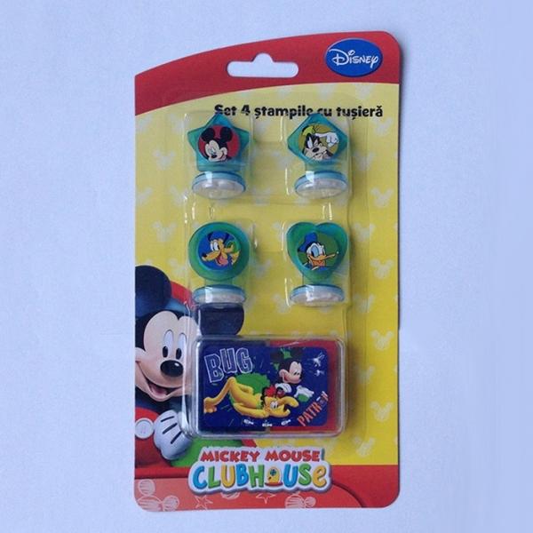 Set 4 stampile cu tusiera Mickey