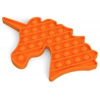 Jucarie antistres Pop It Unicorn Orange, 15 cm