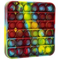 Jucarie Pop It Now din silicon, Patrat MultiColorss 12.5 cm