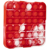 Jucarie Pop It Now din silicon, Patrat White and Red 12.5 cm