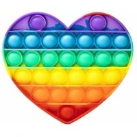 Jucarie antistres Pop It Now, inima Multicolor Rainbow 14.8 cm