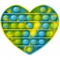 Jucarie antistres Pop It Now, inima Multicolor Verde/Albastru14.8 cm