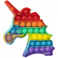 Jucarie Pop It Now, Unicorn Multicolor M5 Rainbow 15 cm