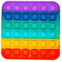Jucarie Pop It Now din silicon, Patrat Multicolor Rainbow 12.5 cm