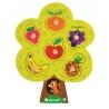 Puzzle din lemn Janod - Copac cu fructe, 6 piese