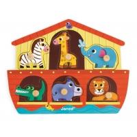 Puzzle din lemn Janod - Arca lui Noe, 6 piese