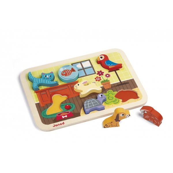 Puzzle din lemn Janod - 7 Animale de companie