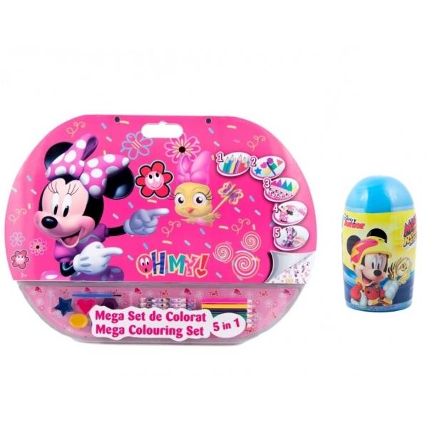 Pachet Mega set de colorat 5 in 1 Minnie Mouse + Set de colorat suflarici spray 24 culori Mickey Mouse