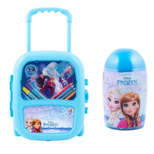 Pachet Set troler cu coloriaj Frozen +Set de colorat suflarici spray 24 culori Frozen