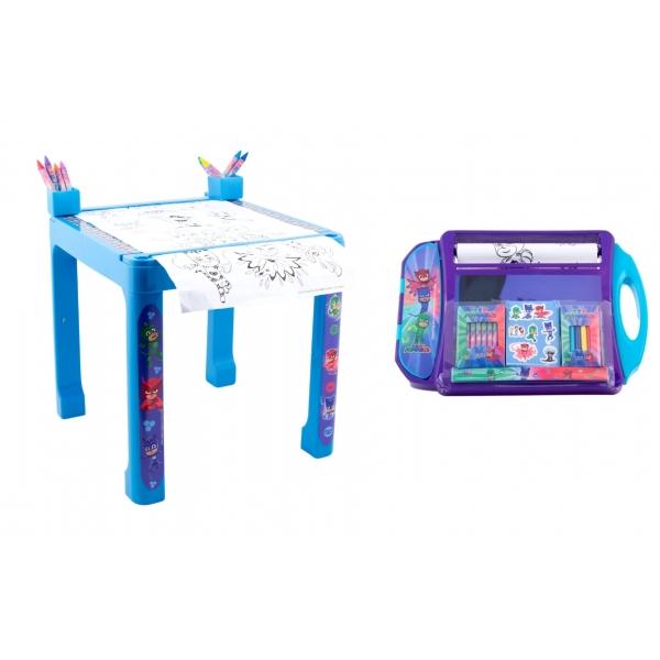 Pachet Masuta cu accesorii pentru colorat Eroi in pijama + Set de colorat portabil Eroi in pijama