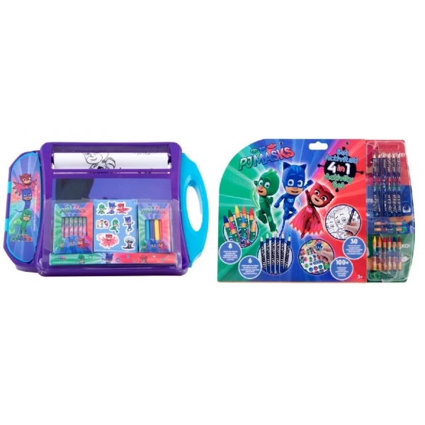 Pachet Set de colorat portabil Eroi in pijama + Mega set de colorat 5 in 1 Eroi in pijama