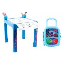 Pachet Eroi in Pijama - Masuta cu accesorii pentru colorat + Set troler cu coloriaj