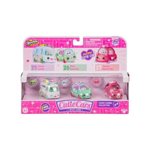 Set cu 3 mini masinute Shopkins Cutie Cars, Candy Combo