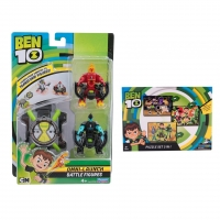 Set Ben 10 - Ceas de jucarie, Omnitrix lansator si 2 figurine de lupta - Torta Vie si XLR8 + Puzzle 3 in 1 - 172 piese
